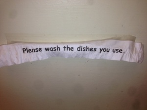 dishes sign